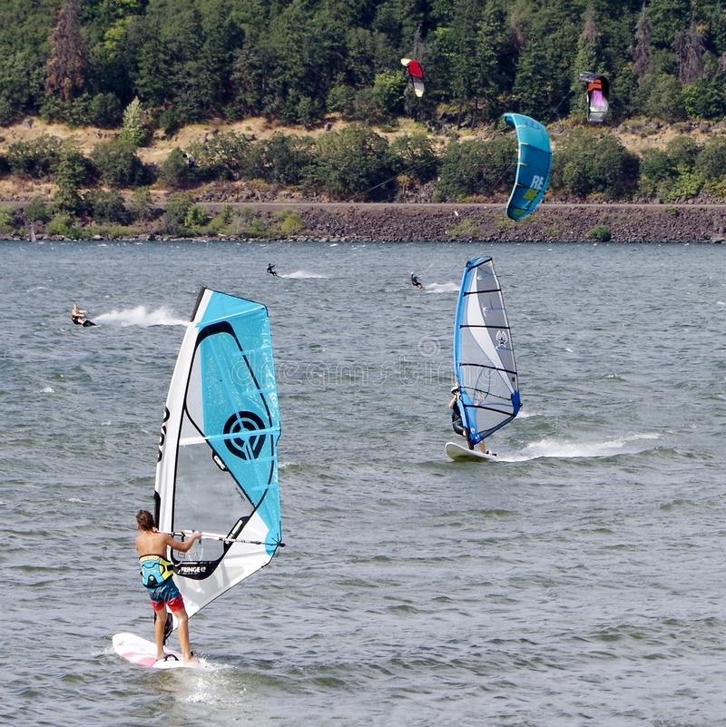 Kite Surfing, Columbia River, Oregon, USA. Kite and wind surfers on the Columbia River outside of Portland, Oregon royalty free stock images