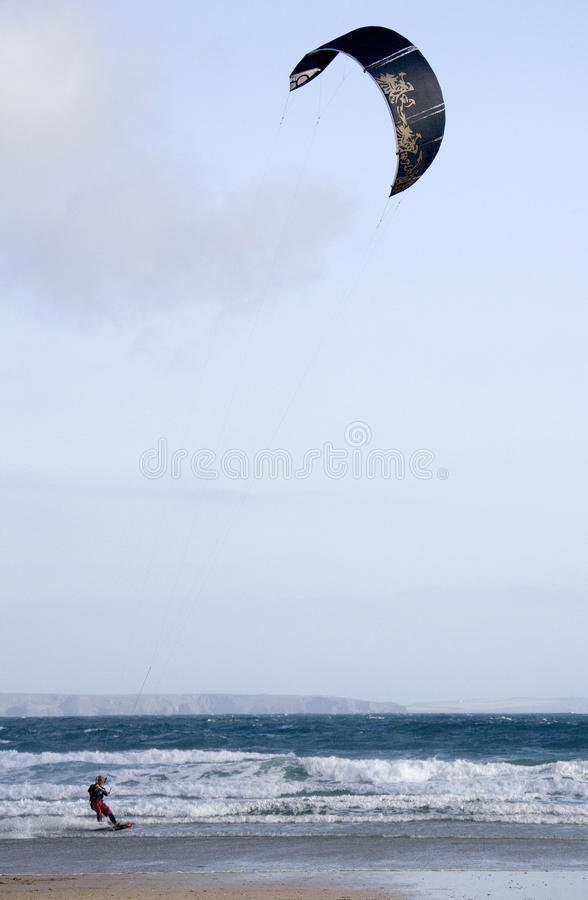 Kite Surfing - Cornwall - England Royalty Free Stock Photo