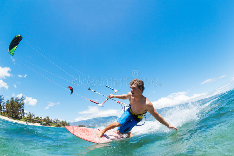 Kite Surfing. Fun in the Ocean, Extreme Sport stock photo