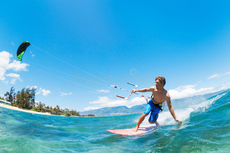 Kite Surfing. Fun in the Ocean, Extreme Sport stock photos