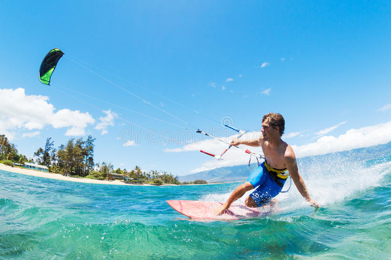 Kite Surfing. Fun in the Ocean, Extreme Sport stock photography