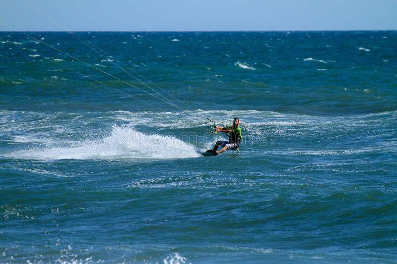 Kite Surfing. In Huntington Beach CA royalty free stock photography