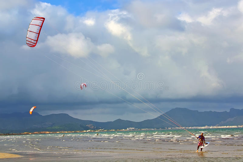Kite surfing in Majorca royalty free stock photo
