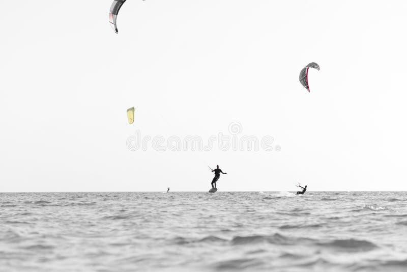 Kite surfing man practicing. stock photo