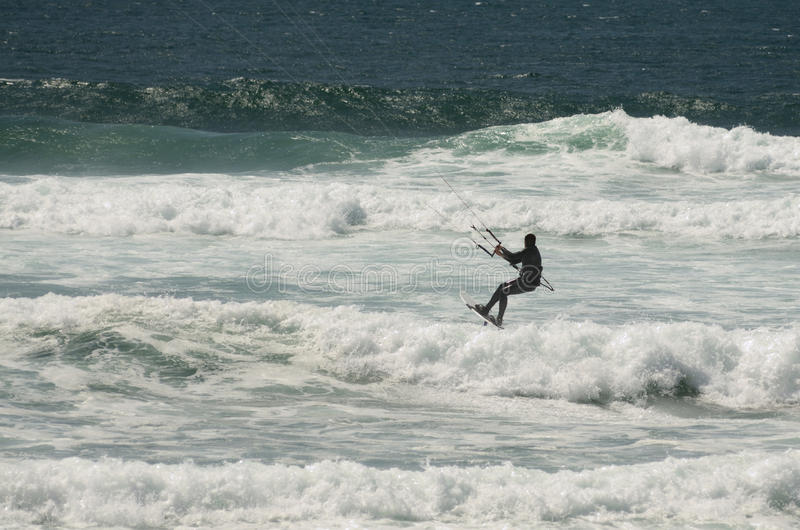 Kite Surfing. On the North Oregon coast near Lincoln City royalty free stock photo