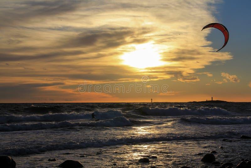Kite-surfing stock image