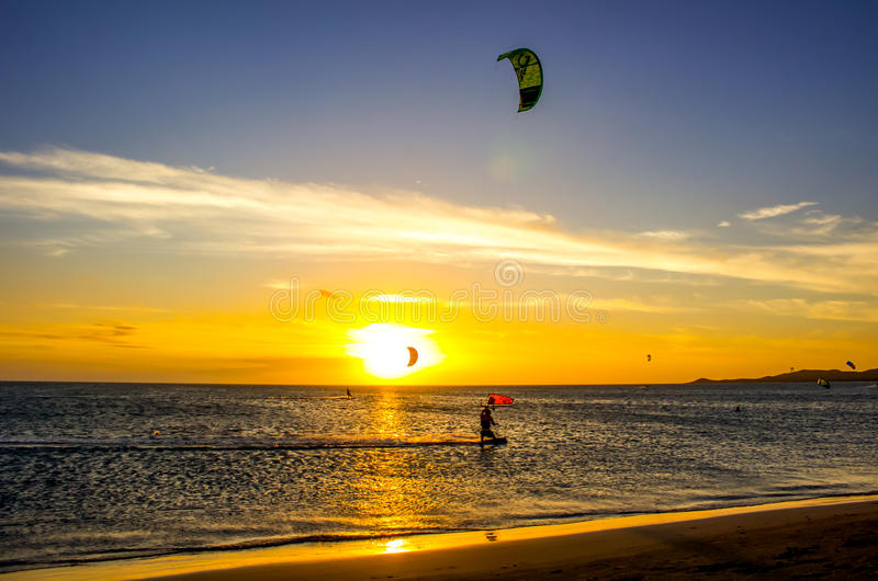 Kite surfing. With strong winds, Cabo de la Vela in Colombia is a popular place for kite-surfing stock image