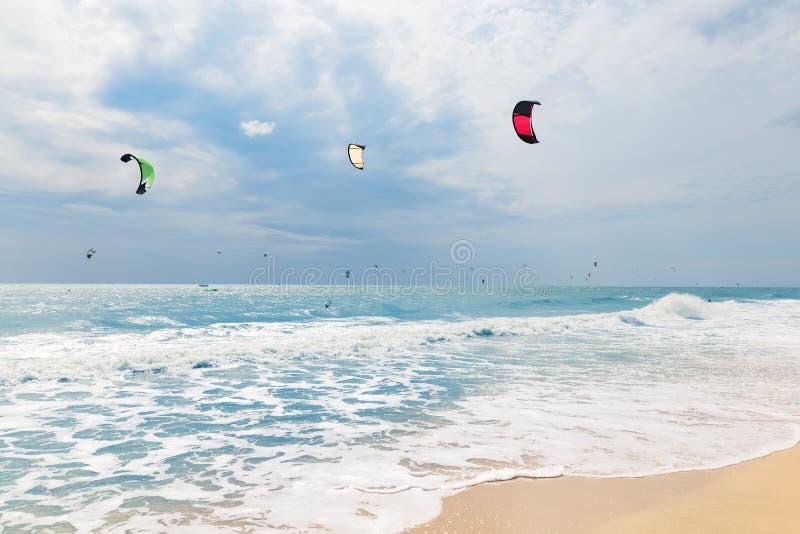 Kite surfing in waves. Mui Ne Beach, Vietnam, Asia stock image