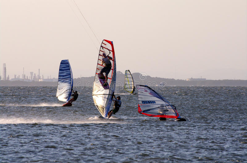 Kite surfing and windsurfing royalty free stock images