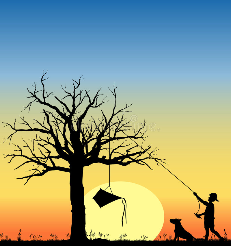 Kite_in_tree_03 royalty free illustration