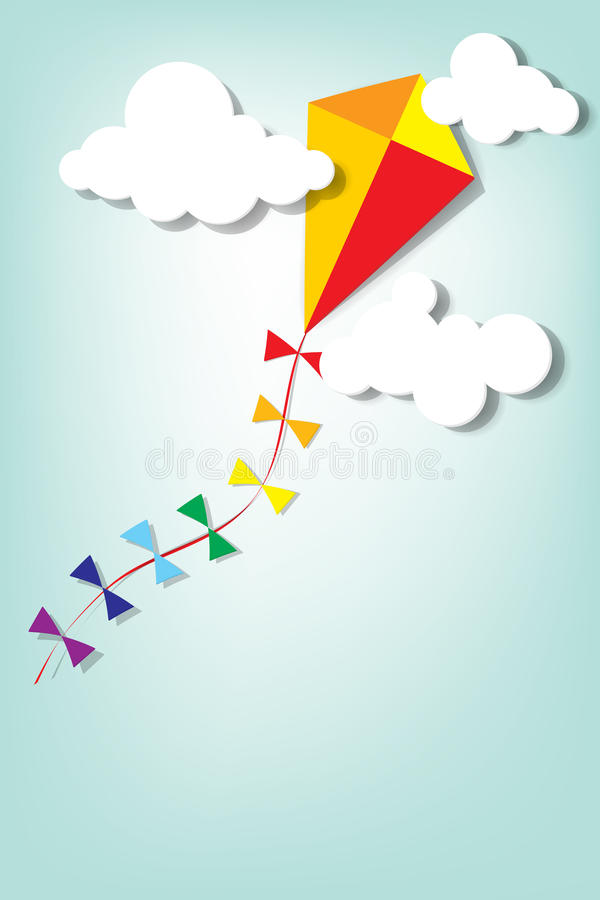 Download Kite up in the clouds stock illustration. Image of illustration - 26796002