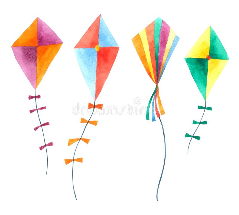 Kite watercolor collection isolated on white background. Hand drawn painting stock illustration