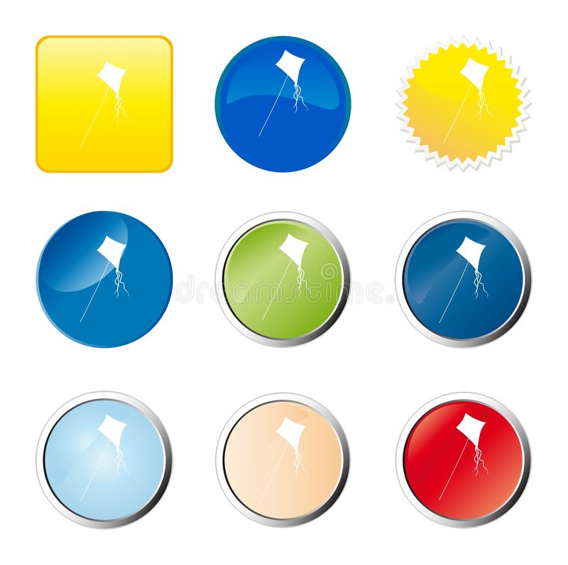 Kite web button. Computer generated image vector illustration