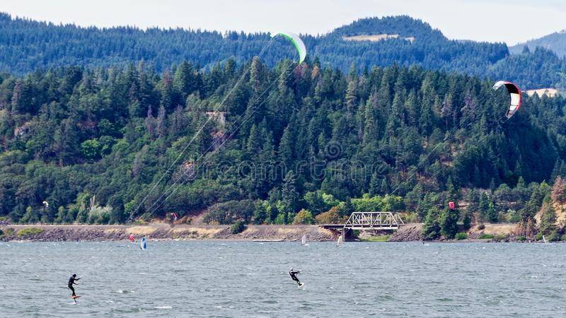 Kite Surfing, Columbia River, Oregon, USA. Kite and wind surfers on the Columbia River outside of Portland, Oregon stock photo
