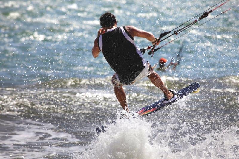 Kiteboarder. Enjoy surfing in ocean. Vietnam royalty free stock photography