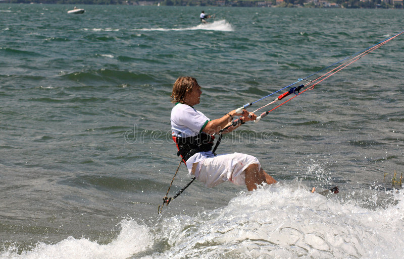Kiteboarder in action royalty free stock images