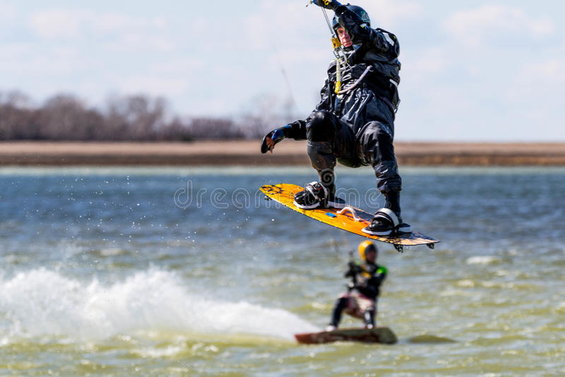 Kiteboarders Take to the Skies in Saskatchewan stock images