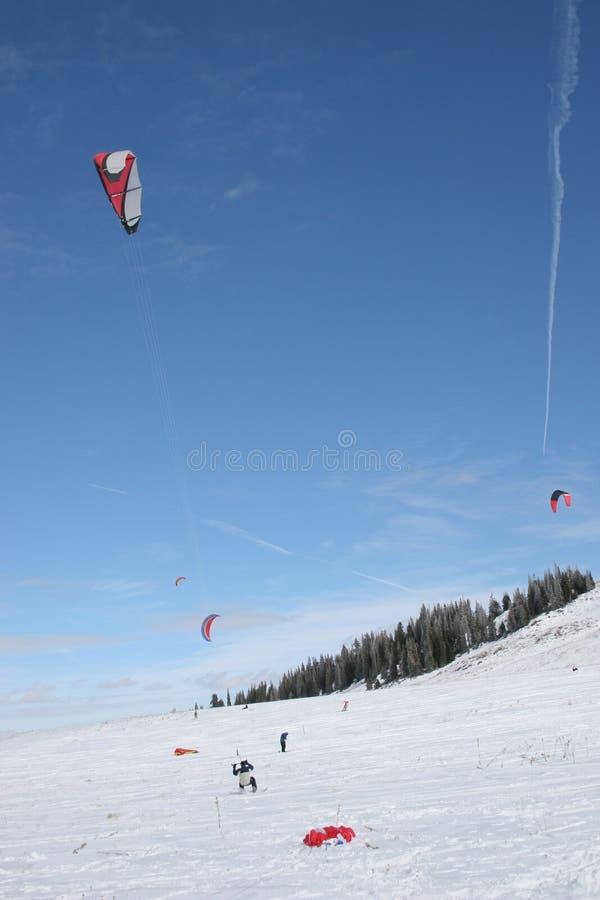 kiteboarding的雪 库存照片