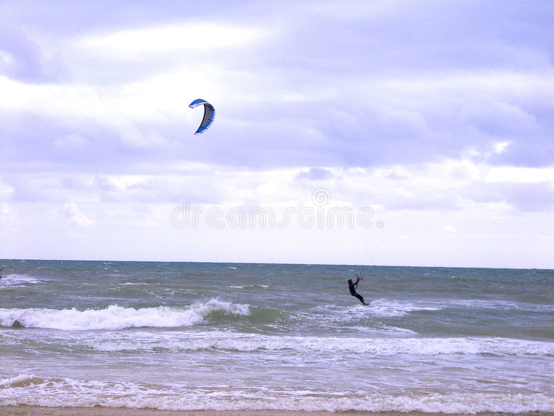 Kiteboarding. Henley Beach, Adelaide, Australia royalty free stock photos
