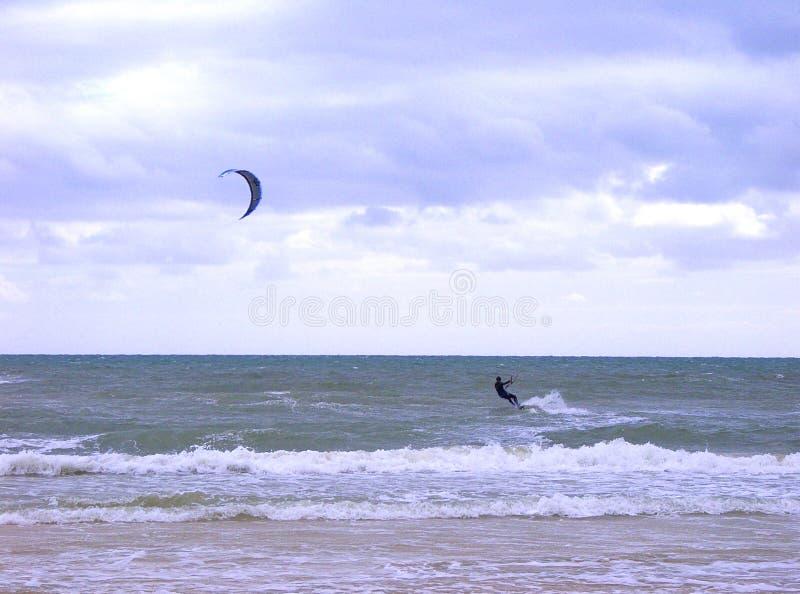 Kiteboarding. Henley Beach, Adelaide, Australia royalty free stock image
