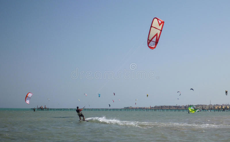 Kiteboarding beach with kitesurfer. Kiteboarding beach soma bay hurgada, egypt stock photo
