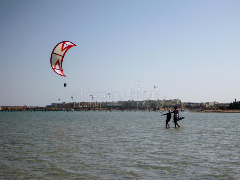Kiteboarding beach with kitesurfer. Kiteboarding beach soma bay hurgada, egypt stock image