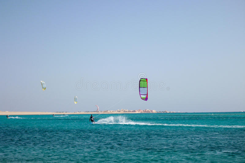 Kiteboarding beach with kitesurfer. Kiteboarding beach soma bay hurgada, egypt royalty free stock photos