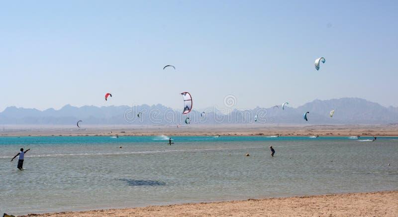 Kiteboarding beach with kitesurfer. Kiteboarding beach soma bay hurgada, egypt stock image
