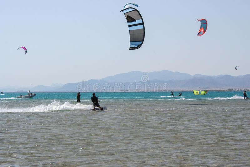 Kiteboarding beach with kitesurfer. Kiteboarding beach soma bay hurgada, egypt royalty free stock photo