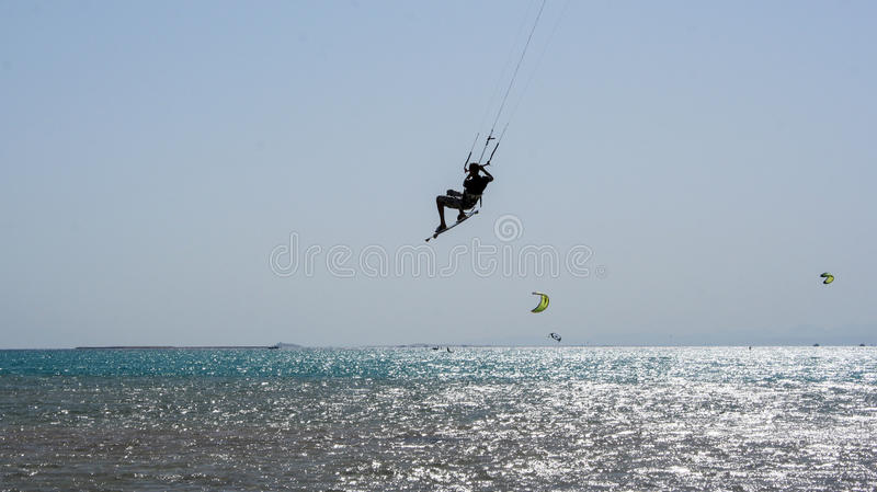 Kiteboarding beach with kitesurfer. Kiteboarding beach soma bay hurgada, egypt royalty free stock photography