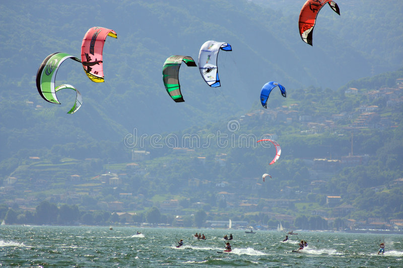 Kiteboarding cup. The Fiat freestyle Kiteboard World Cup 2008 held in lake of Como in Colico(Italy) from 1st july to 6th july royalty free stock photo