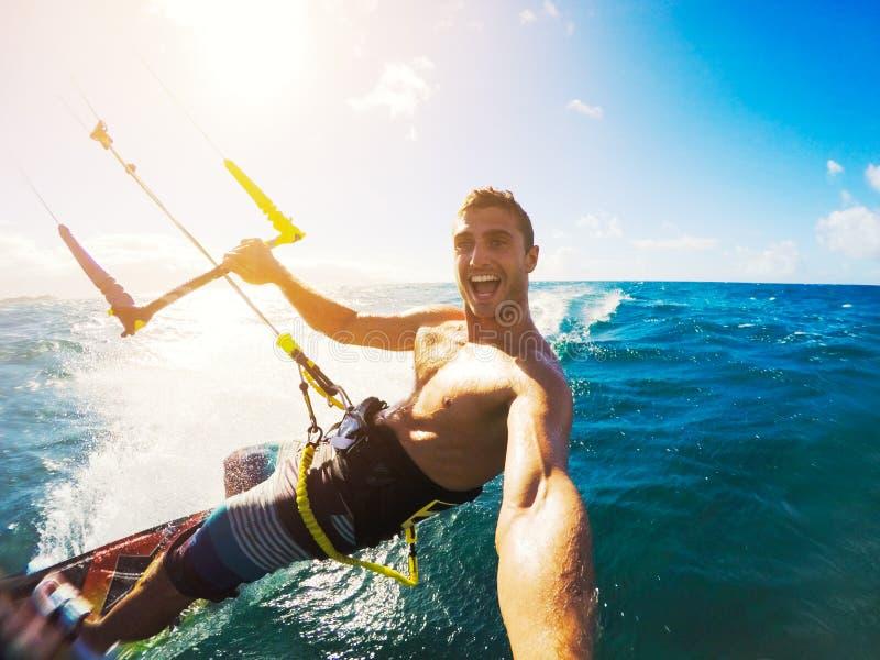 Kiteboarding, deporte de Extereme fotos de archivo libres de regalías