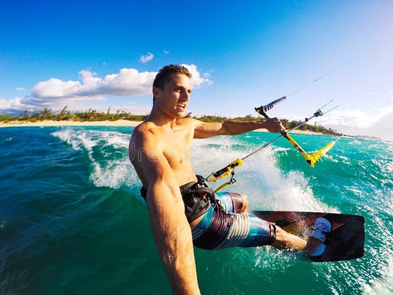 Kiteboarding, Extereme Sport. Kiteboarding. Fun in the ocean, Extreme Sport Kitesurfing. POV Angle with Action Camera stock image