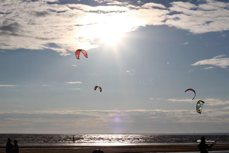 Kiteboarding, frío y playa o naturaleza imágenes de archivo libres de regalías