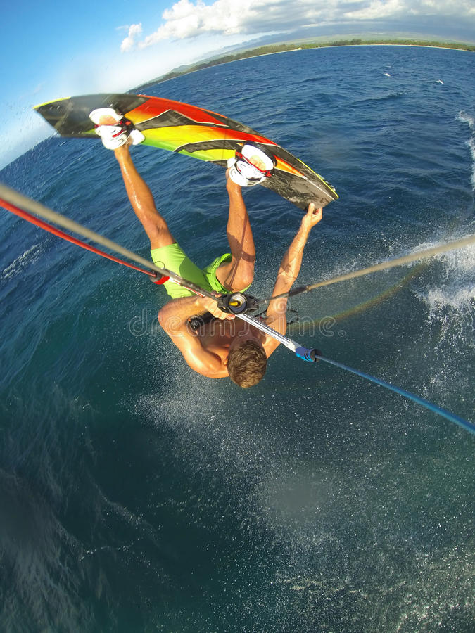 Kiteboarding. Fun in the Ocean, Extreme Sport royalty free stock images