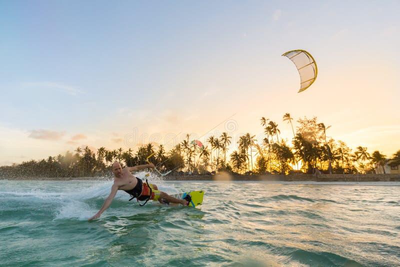 Kiteboarding. Fun in ocean. Extreme Sport Kitesurfing. royalty free stock image
