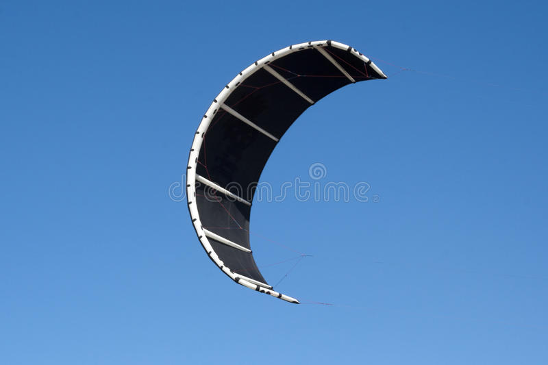 Kiteboarding kite and blue sky. Kiteboarding kite close-up blue sky without clouds in background stock photo