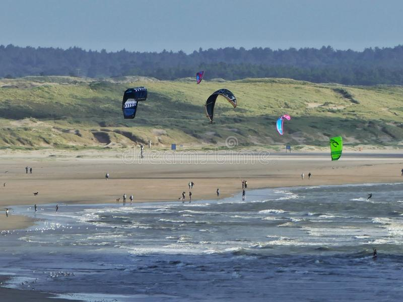 Kiteboarding. Kitesurfers in IJmuiden, the Netherlands royalty free stock photography
