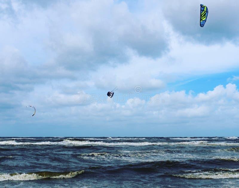 Kiteboarding in the Netherlands. Kiteboarding in Bergen aan Zee in the Netherlands stock images
