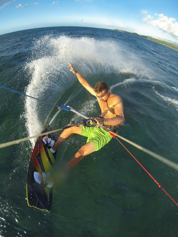 Kiteboarding POV Action Camera. Kiteboarding, Fun in the Ocean, Extreme Sport. Action Camera POV angle stock photo