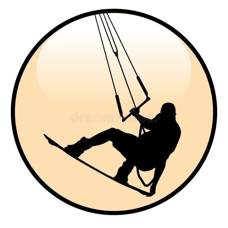 Kiteboarding Rider Icon vektor illustrationer