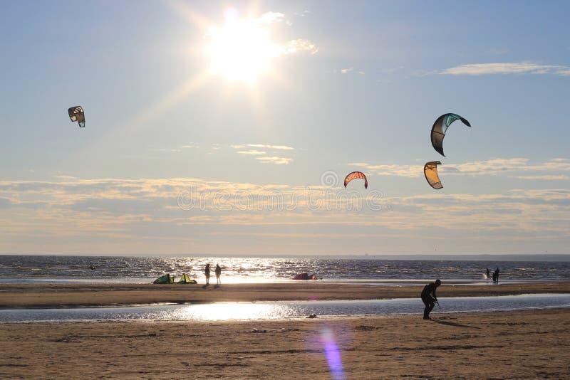 Kiteboarding, sole e spiaggia o natura immagine stock libera da diritti