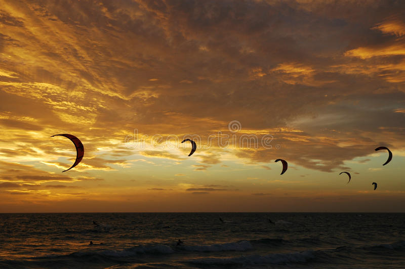 Kiteboarding at sunset. The quite new sport of kiteboarding. Sails in the sky at sunset over a beach in Western Australia stock photography
