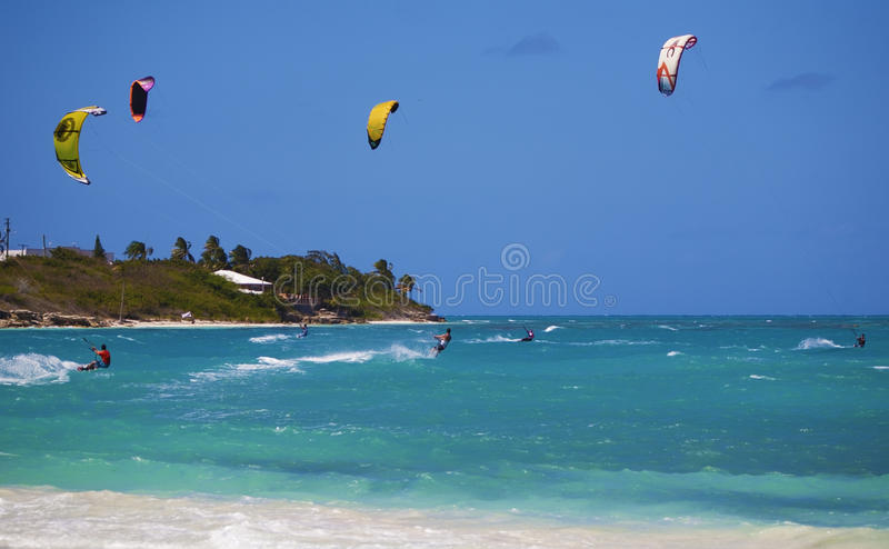 Kiteboarding vacation. Kiteboarding in Antigua with lots of wind royalty free stock photo