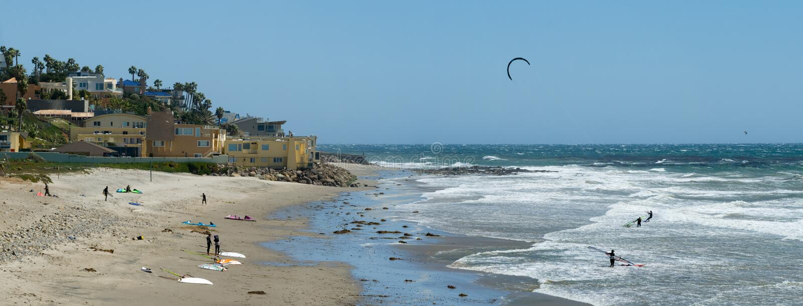 Kiteboarding and Wind Surfing in California. A Southern California beach popular with windsurfers and kite boarders royalty free stock image