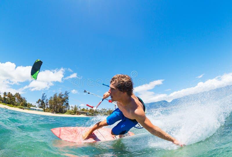 Kiteboarding. Young Man KiteBoarding, Fun in the ocean, Extreme Sport Kitesurfing stock photos