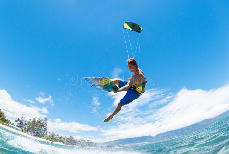 Kiteboarding. Young Man KiteBoarding, Fun in the ocean, Extreme Sport Kitesurfing stock photo