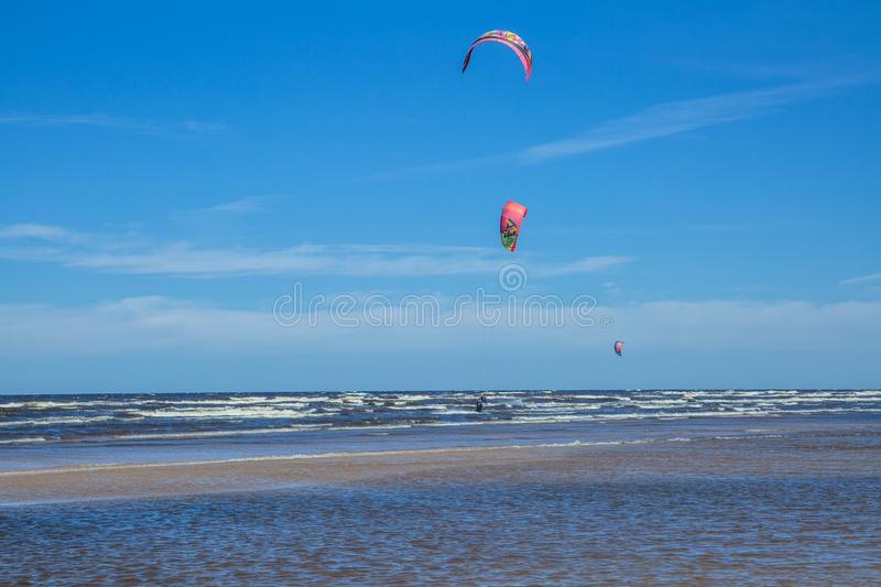 Kitebording at baltic sea. Travel photo. stock image