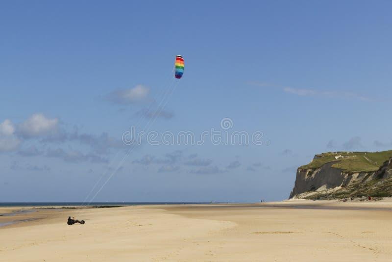Kitebuggy en la playa foto de archivo libre de regalías