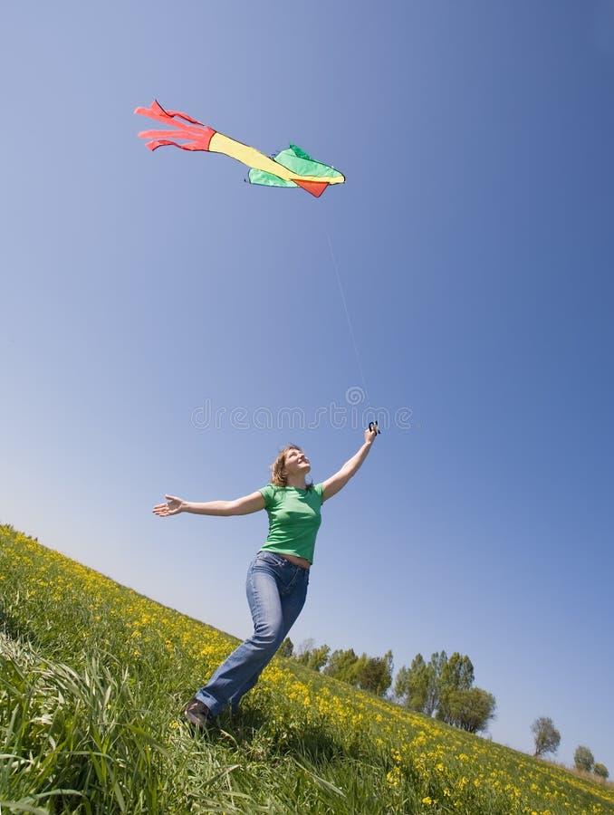 Download Kiteflying stock photo. Image of happy, lifestyle, landscape - 5332696